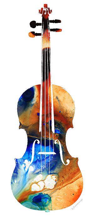 Title:  Violin Art By Sharon Cummings  Artist:  Sharon Cummings  Medium:  Painting - Mixed Media Painting Print