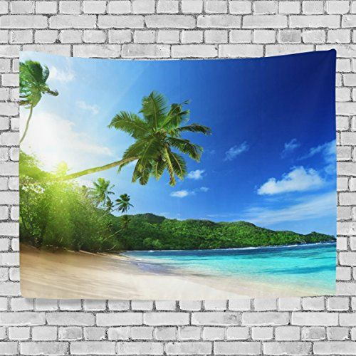 MRMIAN Tropical Beach Decor Coconut Palms Beach Sea Plants 2Bedroom Living Kids Girls Boys Room Dorm Accessories Wall Hanging Tapestry 60x51in *** Find out more about the great product at the image link.