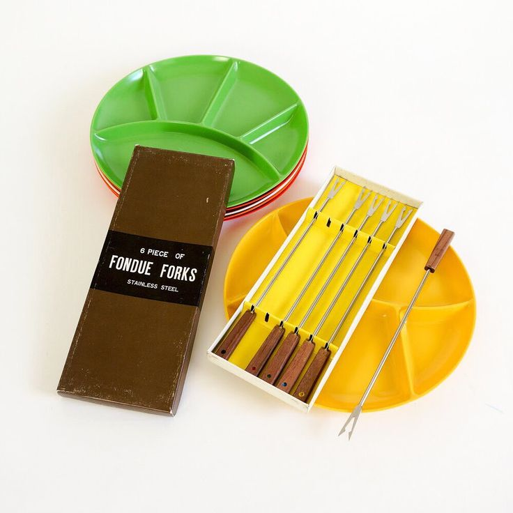 #1960s #fondueforks and #fondueplates just added to the shop.  Who's in for a #fondueparty?!  🧀