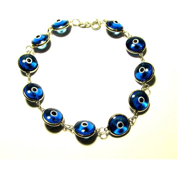 Turquoise Evil Eye Bracelet Sterling Silver Amulet Protection Good Luck Mati Lampwork Glass Beads Chain Link Greek Jewelry Gift For All (€16) found on Polyvore featuring women's fashion, jewelry, bracelets, evil eye bangle, turquoise bangle, beading jewelry, sterling silver jewellery and sterling silver evil eye jewelry