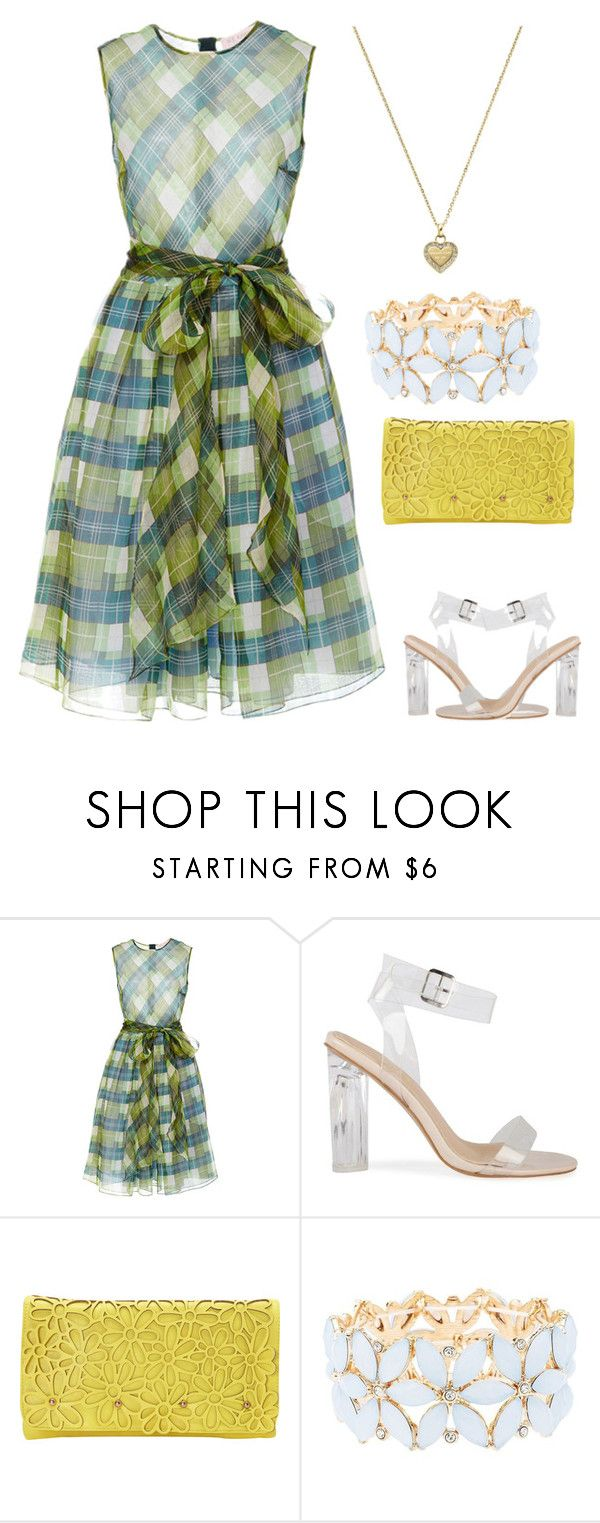 """""""Plaid Silk Dress"""" by amanda-o-twomey ❤ liked on Polyvore featuring Dice Kayek, Melie Bianco, Charlotte Russe and Michael Kors"""