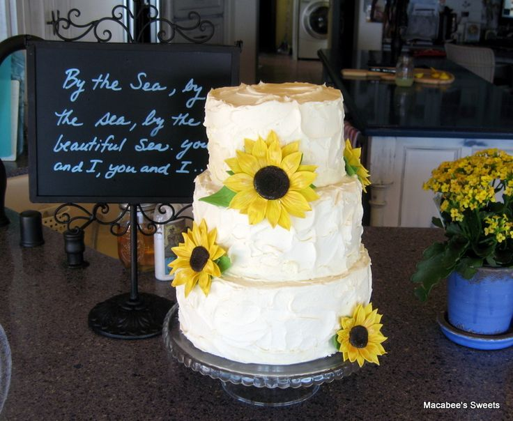 sunflower Bridal Shower Cakes | Rustic Sunflower Wedding Shower Cake
