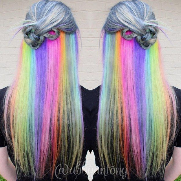 Hidden Rainbow | 21 Bold AF Hair Colors To Try In 2016