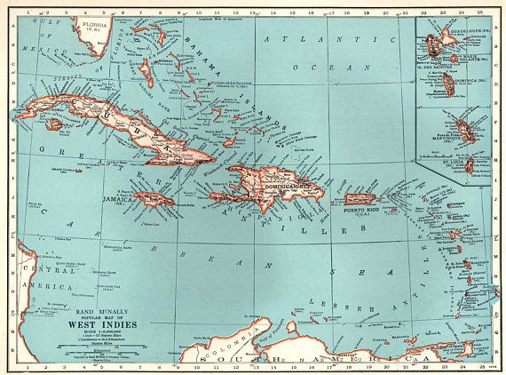 1939 Antique CARIBBEAN Map West Indies Islands Beach House ...
