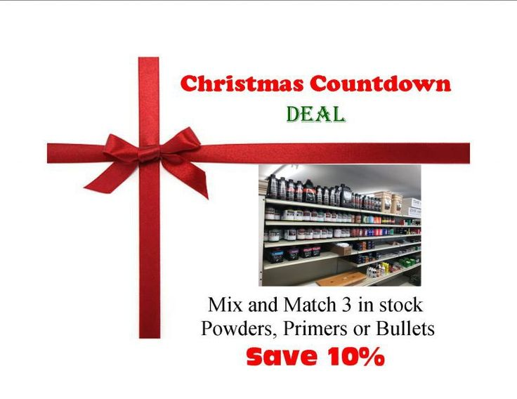 Christmas Countdown Deal:  Reloading Supplies - Buy 3 Powders, Primers or Bullets and save 10% (through Thursday Dec 7th) - http://www.gungrove.com/christmas-countdown-deal-reloading-supplies-buy-3-powders-primers-or-bullets-and-save-10-through-thursday-dec-7th/