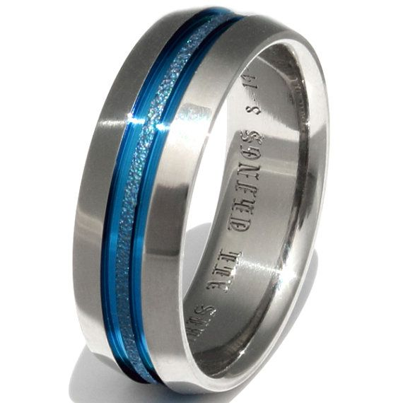 Blue Frost Titanium Wedding Band Thin Blue by TitaniumRingsStudio