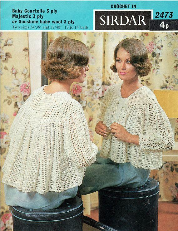 PDF Vintage 1960s Womens Ladies PUSSY-BOW Bedjacket Crochet