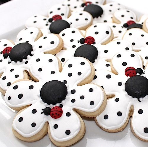 Pokie dot Flower Cookies. . . .with ladybugs