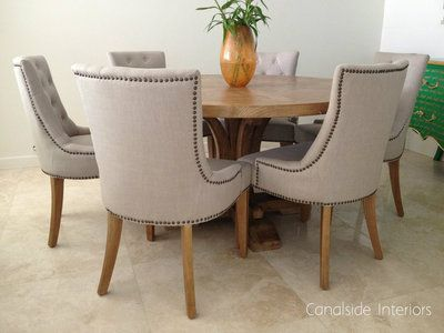 Cream Upholstered Dining Chairs Chair Covers Walmart In Store Bennet Button Back Canalside Interiors Home Pinterest And
