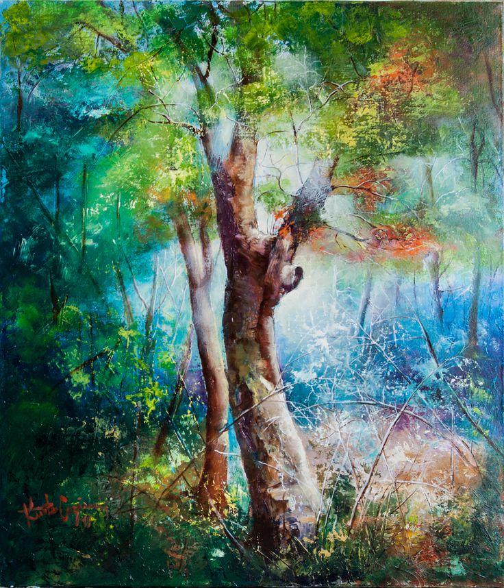 În pădure   Az erdőben   In the forest   Nella foresta   Dans la forêt   Im Wald   h-70 x l-60 cm   Kurta Cazimir 2017   #KurtaCazimir2017 #forêt #padure #inpadure #pictura #picturainulei #erdo #forest #copaci #lumina #feny #luce #foresta #painting #oilpainting