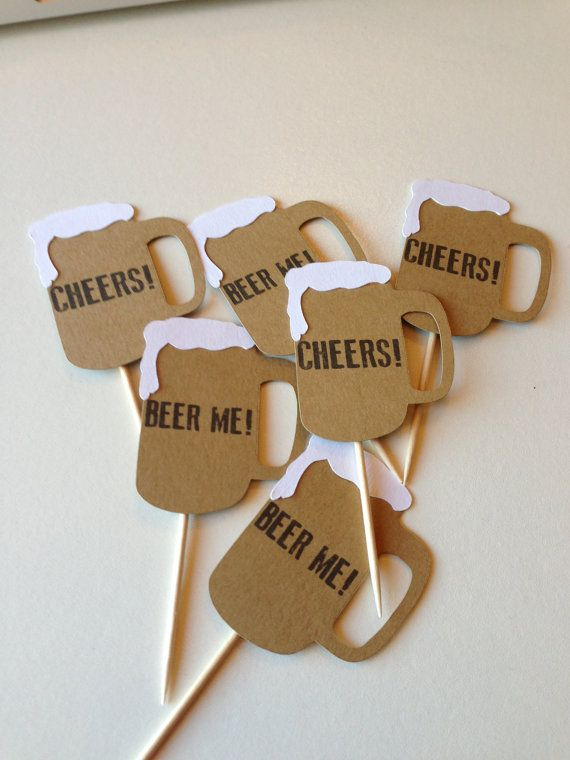 Beer + Diaper Party? Craft beer night? These cupcake toppers will spruce up those boring old cupcakes & adds some detail and personalization to your party! You dont just have to use them for cupcakes, but for cake decor, food picks or whatever your little heart desires. Youll receive 12 cupcake picks: 6 Cheers + 6 Beer Me Mugs Each one measures approx. 2 in x 1.5 in.  Orders will likely ship earlier, but please allow 2-3 weeks for processing + delivery. If you need items sooner, please le...