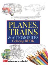 From super cars to ground-attack aircraft, from diesel locomotives to bullet trains and from farm tractors to giant diggers, Planes, Trains, and Automobiles Coloring Book offers hours of coloring fun for both children and adults. Highlights include the Ferrari Enzo sports car, John Deere 6910 tractor, Boeing 747, F-15 Strike Eagle fighter plane and VW Camper van.