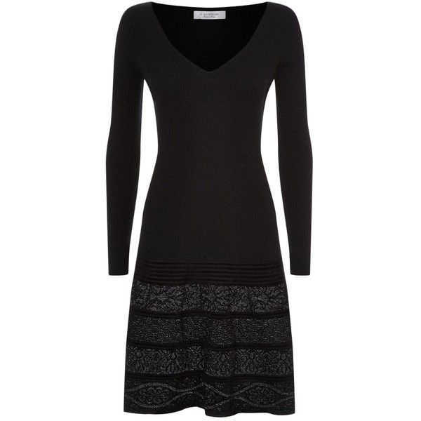D.Exterior Lurex Panel Knitted Dress (10,075 MXN) ❤ liked on Polyvore featuring dresses, plunging v neckline dress, plunging v neck dress, heart shaped dress, fit-and-flare dress and plunge dress