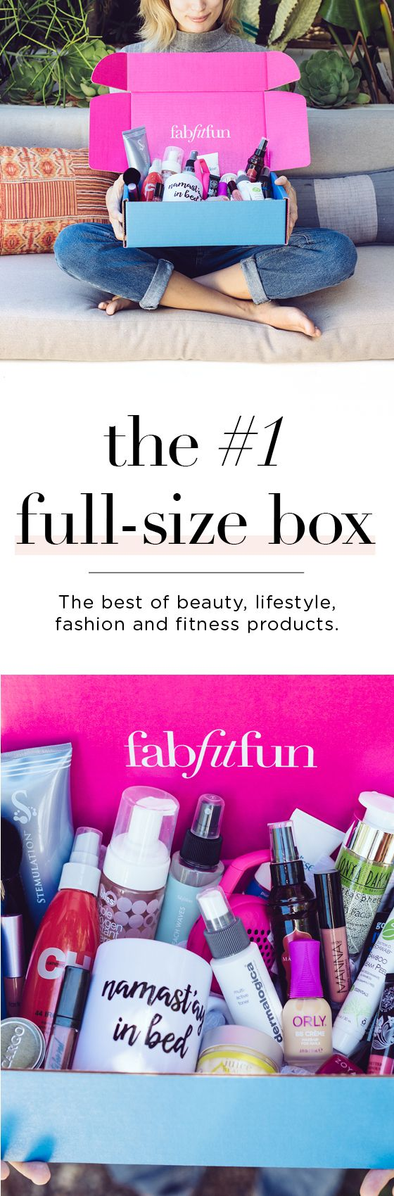 Have you tried the FabFitFun box? It's like a big surprise gift delivered to your doorstep each season. The box is stacked with premium, full-size beauty, fashion, and fitness products. Use code LEAVES to get your 1st box for $39.99 and see why we're the #1 full-size box!