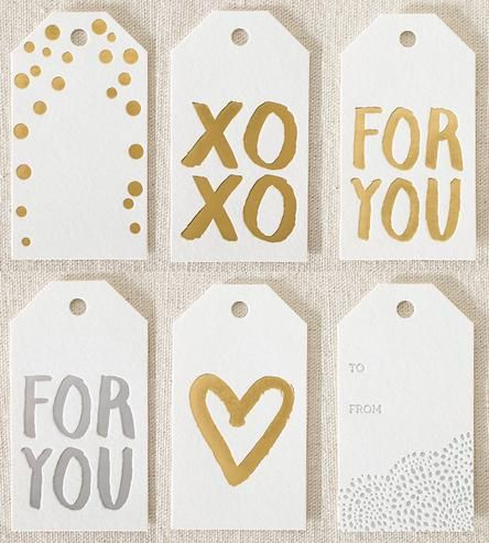 foil stamped gift tags