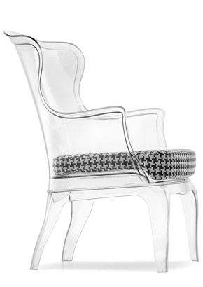 Iu0027ve Always Loved Wing Back Chairs And I Also Love Reupholstering Them.  This Acrylic Wingback Chair Is Amazing I Think A Brightly Colored Cushion  Would Make ...