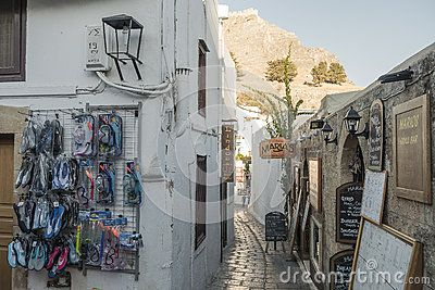 Street in Lindos city , Rhodes Island, Greece . Europe.