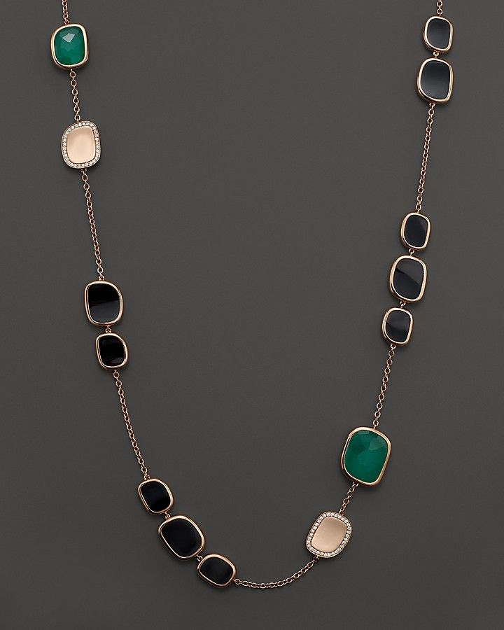 Roberto Coin 18K Rose Gold Diamond, Black Jade and Green Agate Necklace