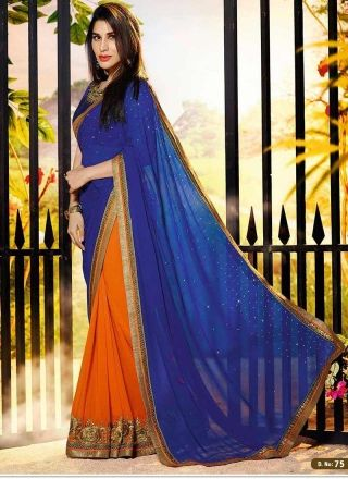 Orange And Blue Georgette Embroid ery Patch Border Work  Saree http://www.angelnx.com/Sarees/Bollywood-Sarees#/sort=p.sort_order/order=ASC/limit=32/page=3