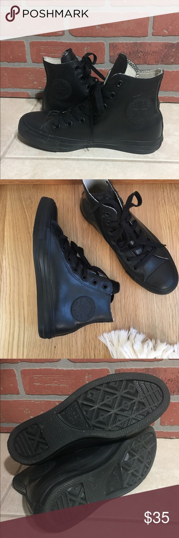 Black Rubber high top Chuck Taylor sneakers Very comfy & chic water proof rubber chucks. Work a handful of times. Size women 7 Men 5 Converse Shoes Sneakers