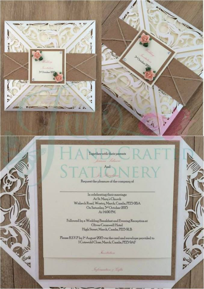 not on the high street winter wedding invitations%0A Rustic belly band laser cut wedding invitation with hessian and peach  mulberry roses www jenshandcraftedstationery