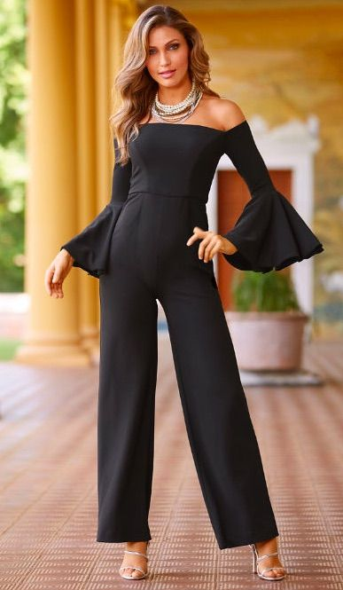 8325d5f1ff5b Off-the-Shoulder Flare-Sleeve Jumpsuit by Alexia Admor in 2019 ...
