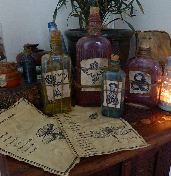 Skyrim Inspired Antique Glass Potion Bottle and Ingredients list - Fortify Carry Weight, Stamina, Healing and Frenzy Potion by KateMurrays