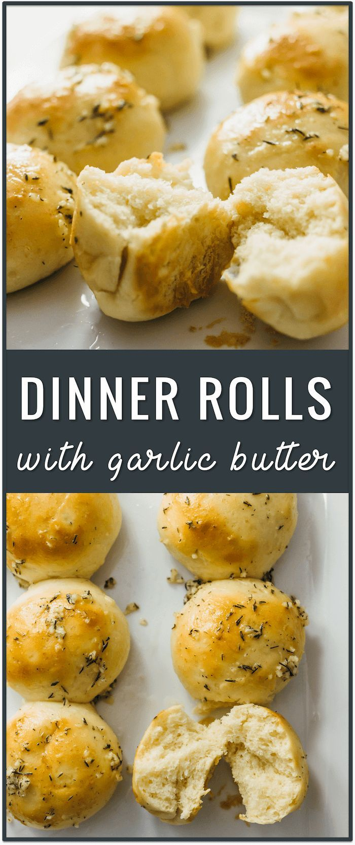 Small batch dinner rolls with garlic butter