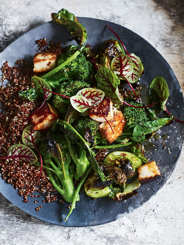 Charred Broccoli And Brussels Sprout Salad With Haloumi And Red Quinoa | Donna Hay