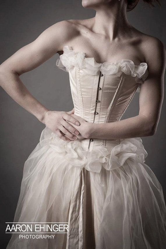 Custom Tight Lacing Corset Bridal Gown by EccentricallyLaced (etsy)