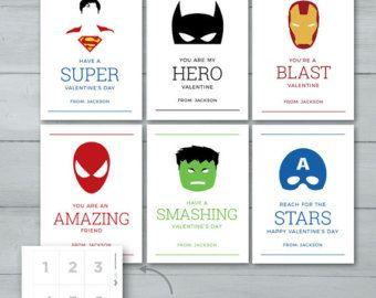 Kinderen van Valentijn kaarten | Superheld Valentines |  Spiderman, Batman, Captain America, Superman, Hulk, Iron Man valentijn kaarten