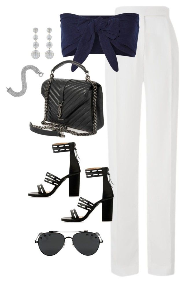 """Untitled #4008"" by theaverageauburn on Polyvore featuring Amanda Wakeley, Solid & Striped, Kenneth Jay Lane, Yves Saint Laurent and Givenchy"