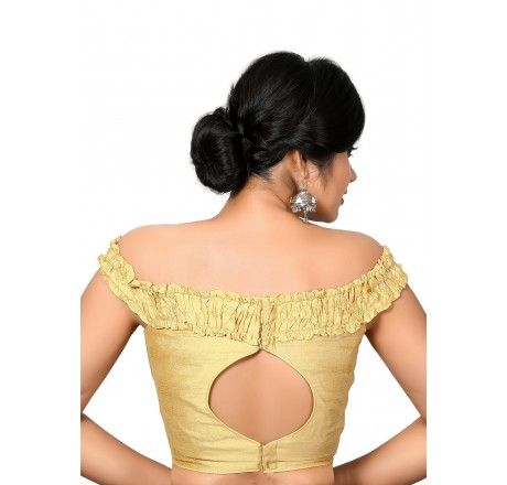 Off shoulder raw silk padded ready made top / blouse