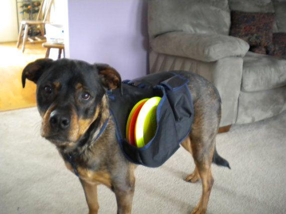 Medium Dog Disc Saddle Bag standard harness by HooksDiscGolf, $55.00 Gonna folf with this helper bag!