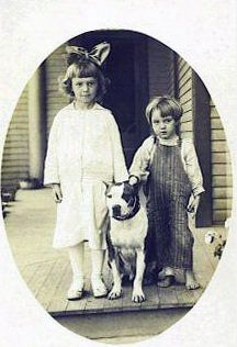 vintage children and their pit bull