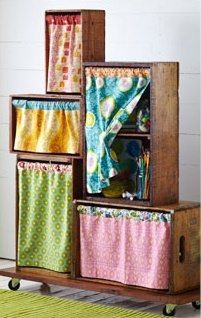 wardrobe from crates.. Would be great in sewing room.