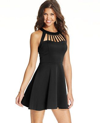 Trixxi Juniors' Flared Cutout Dress - Juniors Dresses - Macy's $42.99