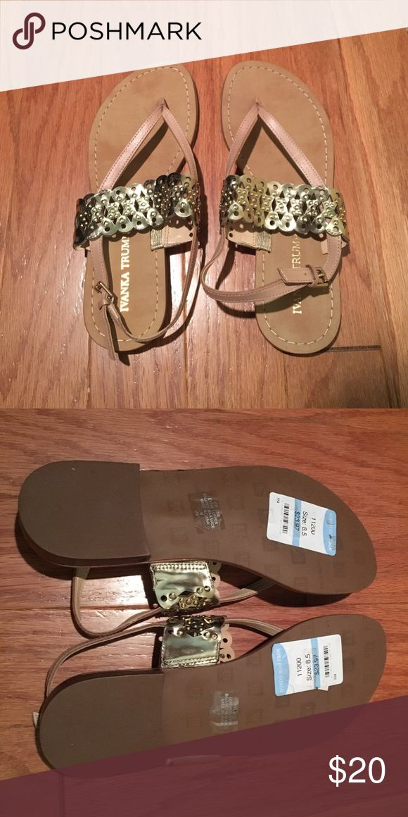 Ivanka Trump Sandals Super cute neutral sandals with gold detail. Leather uppers. Ivanka Trump Shoes Sandals
