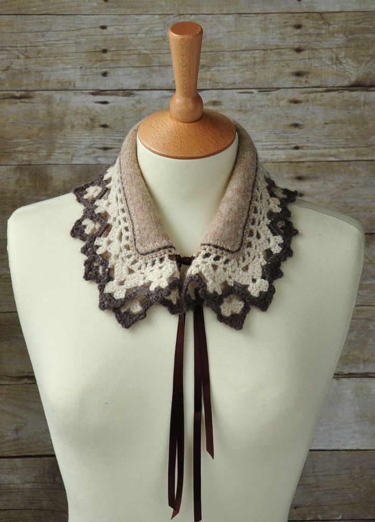 Peter Pan collar Spring scarflette accessories hand by woolnwhite, £37.00