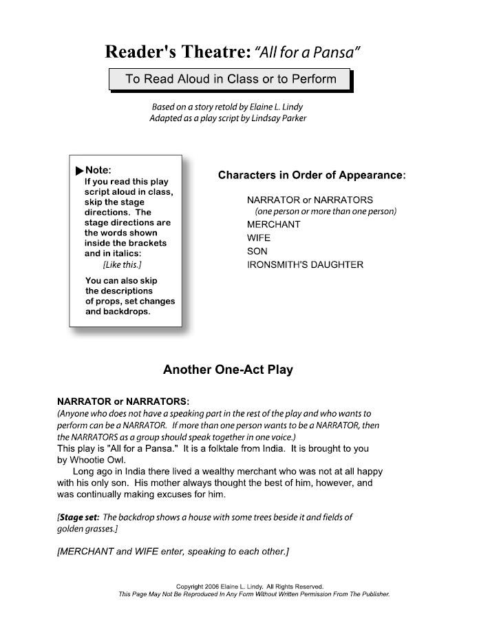 Complete ReaderS Theatre Play Script  All For A Paisa  All