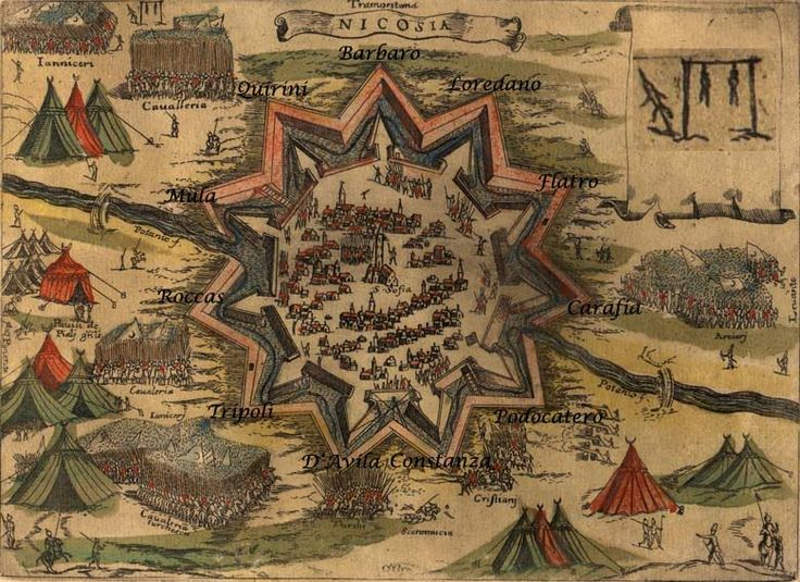 The siege of Nicosia in Pinargenti's map of 1573