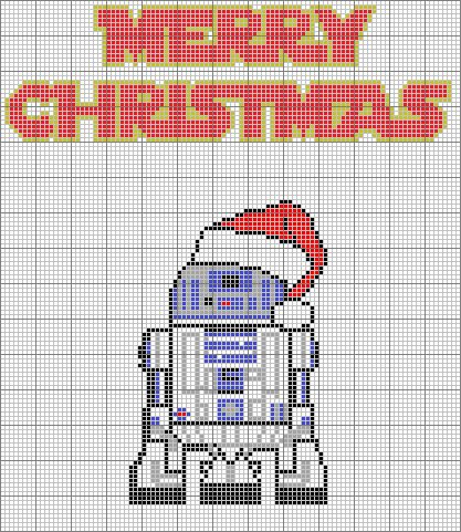Christmas R2D2 Graph to possibly make a C2C Afghan - I personally wouldn't give this a shot but if you're real good at C2C and know a die hard Star Wars fan I didn't want to not pass this on ☺