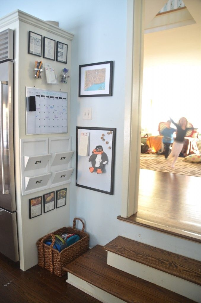 Kitchen Command Center. Great use of space on the side of the refrigerator.