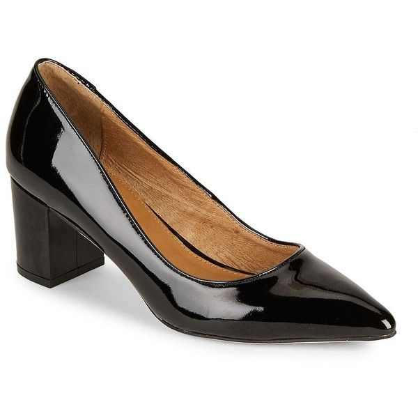 Corso Como Women's Regina Patent Leather Pumps ($120) ❤ liked on Polyvore featuring shoes, pumps, black, black block heel shoes, black patent shoes, patent leather pumps, block-heel shoes and block heel pumps
