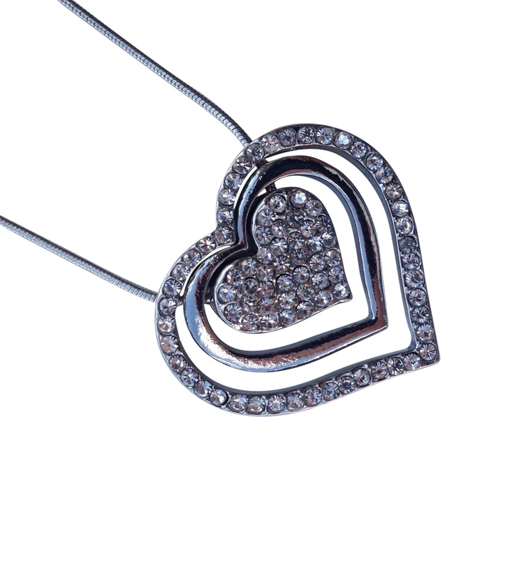 """16 3/4"""" + EXT Clear Rhinestone Heart w/ Arrow Necklace Retail - $24.60 You Pay - $12.30 w/ free shipping in the US."""