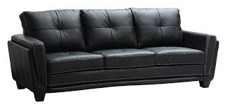 Description Homelegance 9701BLK-3 Dwyer Sofa, Black Vinyl Fabric    A thoroughly modern seating option for your contemporary home, the Dwyer Collection provides a comfortable venue for your downtime. Black vinyl features contrast baseball stitching and raised cushions that slightly flare furthering the modern design.