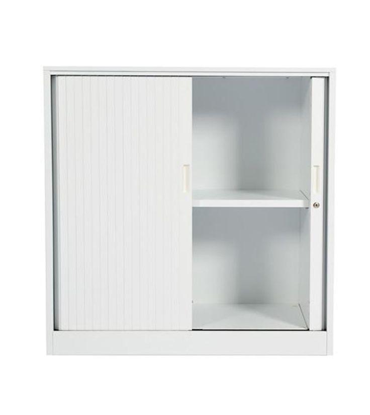 Smart Tambour Door storage for office workspace design with white powercoat. 2Store Range. #storage #office