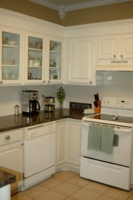 white cabinet, dark counter