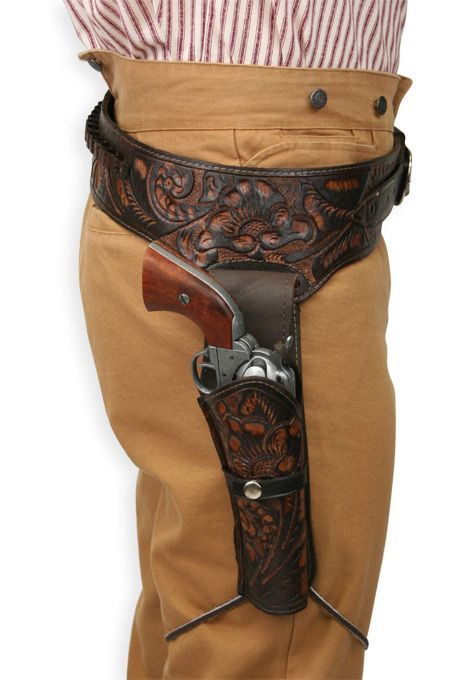 (.44/.45 cal) Western Gun Belt and Holster - RH Draw - Two Tone Brown Tooled Leather [002350W] $90.00