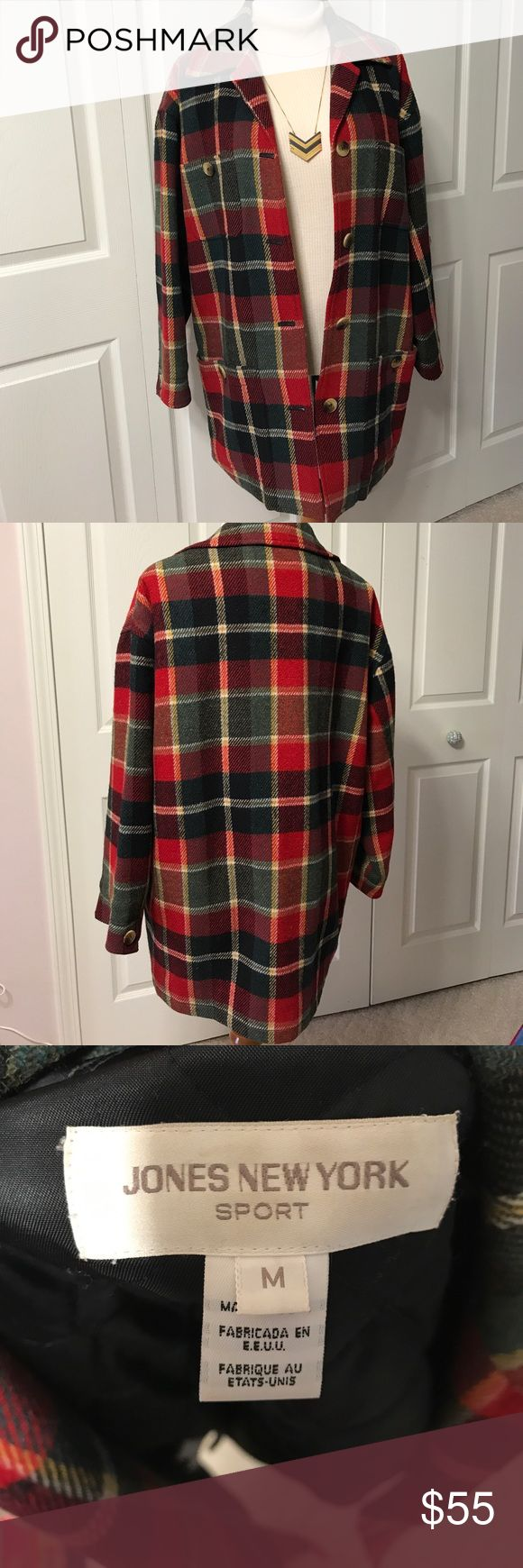 WOW!! Jones New York Wool Jacket Made in USA🇺🇸 This is the bomb! I love finding treasures like this. Made in the US always makes something more special in my book, and this is. Gorgeous colors, fully lined in quilted satin, big front pockets, and Perfect condition!  I do feel that though this was designed to be oversized, it is too big for a standard medium that it is tagged as. It measures 24 inches across the bust and 30 long. I would call this an extra large for sure. So I am tagging it…